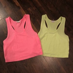 Neon Pink and Yellow Crop Top Bundle Size L